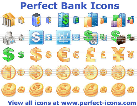 Perfect Bank Icons - bank,money,dollar,coin,business,book-keeping,icons,icon,ready,toolbar - Matching toolbar icons for accounting and banking applications and web sites