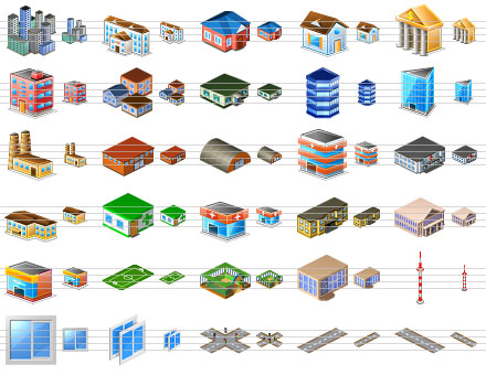 perfect,icons,icon,ico,city,objects,isometric,collection,architectural