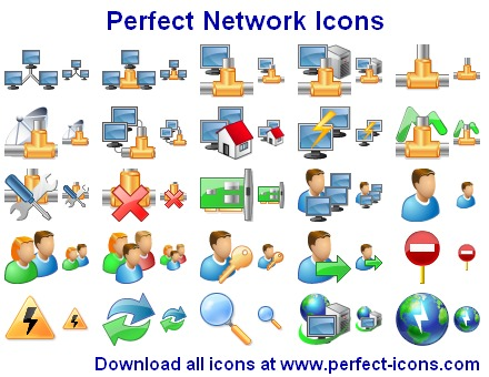 Perfect Network Icons - stockicons,stock,icon,icons,ico,collection,icone,net,network,smile,server - Perfect Network Icons is a collection of pre-made network-related icons.