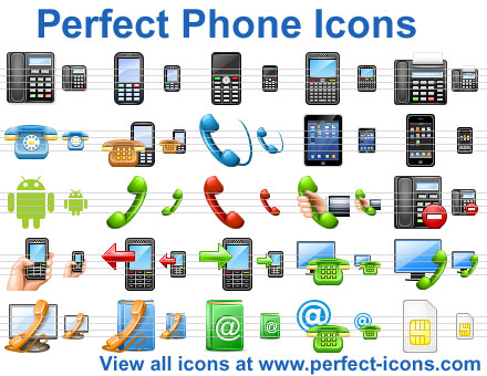 Perfect Phone Icons - perfect,mobile,icons,PDA,icon,ico,design,ready,Vista icons,iconshock,ready icons,phone icons - Enhance communication applications with ready-made, royalty-free phone icons